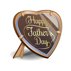 Father's Day card. Frame in the shape of a heart with an inscription - Happy Father's Day. Vector illustration