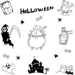 Halloween set doodle vector illustration