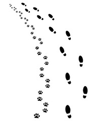Footprints of man and dog, turn left, vector