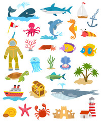 set of sea and ocean animals and fishes, palm trees and sand castle, ships, golden chest, lighthouse