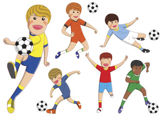 stock vector boys cartoon playing football on isolated