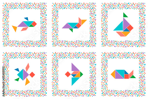 graphic regarding Printable Tangrams Pdf Free called Tangram fastened, sea pets, fishes, sailboat. Selection of