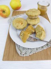 Pancakes aus der Muffinform mit Apfelmus