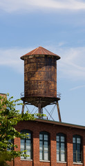 Old Rusted Rooftop Water Tower Urban Industrial Architecture