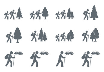 Set of hiking tourists icon illustration isolated vector sign symbol