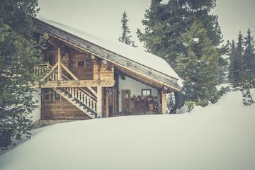 ski slope run at winter snow resort