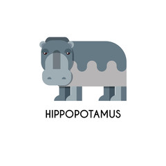 Hippo made in unique geometrical flat style.