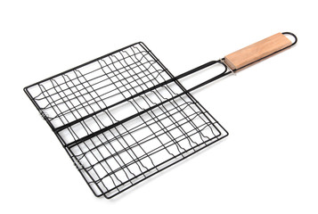 Metal grill for barbecue on a white background
