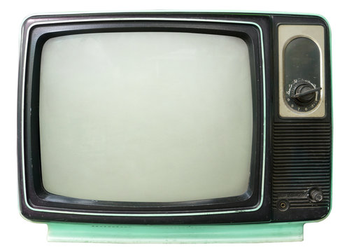 Vintage television - old TV isolate on white, retro technology