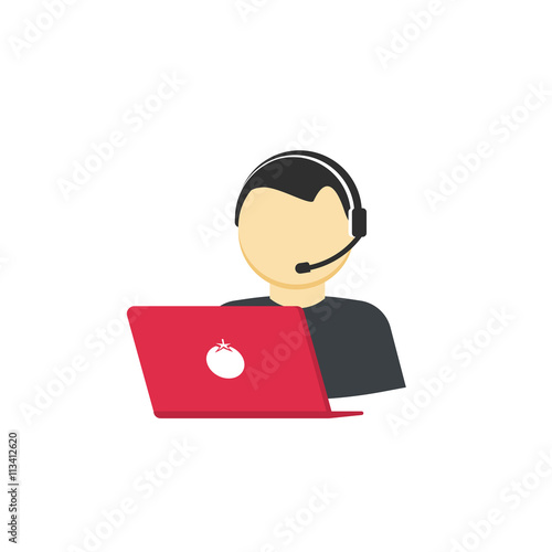 customer support vector icon isolated on white flat cartoon support