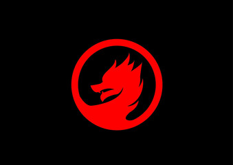 Red dragon logo vector isolated on black.