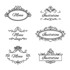 Calligraphic vignettes for menu and flourishes flourishes frames for wedding invitation. Vector illustration
