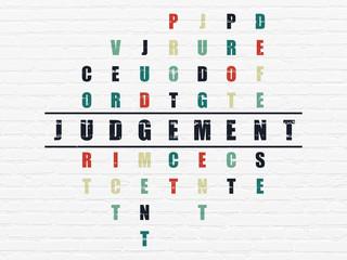 Law concept: Judgement in Crossword Puzzle