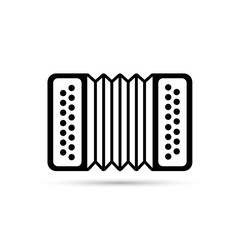 Accordion flat icon isolated on background. Accordion vector logo