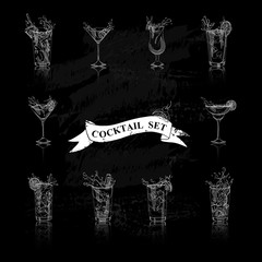 cocktail set black and white