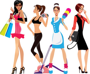 glamor girl, fitness girl, housewife, business woman