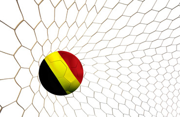 soccer ball team Belgium into the goal Football Euro cup 2016 on a white background.