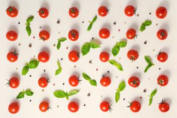 flat lay of beautiful trendy seamless pattern cherry tomato, dry