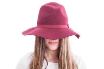 Portrait of a strange female model wearing hat