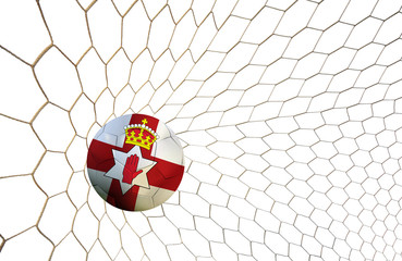 soccer ball team North Ireland into the goal Football Euro cup 2016 on a white background.