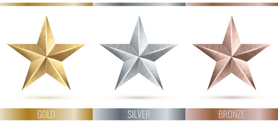 Vector illustration of realistic metallic 3 stars