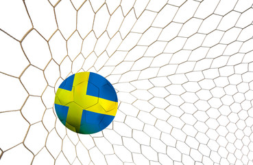 soccer ball team Sweden into the goal Football Euro cup 2016 on a white background.