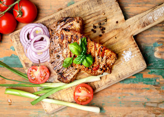 juicy grilled steak, basil and tomatoes