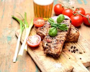juicy grilled steak, basil,beer and tomatoes
