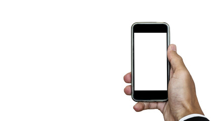 Mobile phone in hand, with copy space on screen, isolated on white background