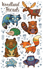 Woodland tribal animals vector set