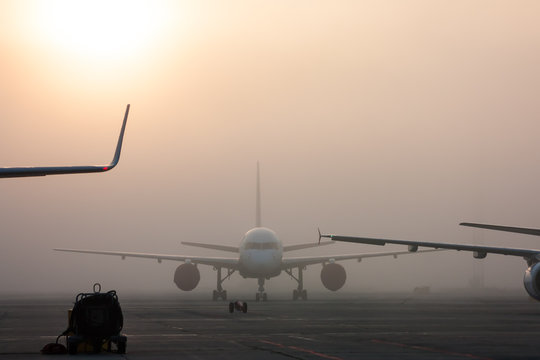 The fog on the airport apron