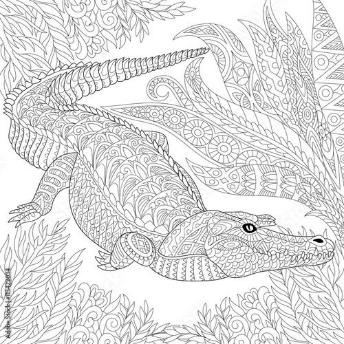 Zentangle Stylized Cartoon Crocodile alligator Among