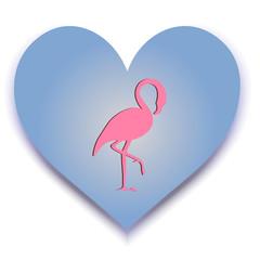 Flamingo with heart