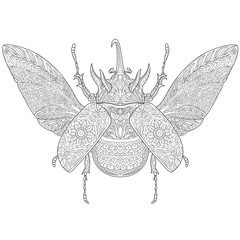 Zentangle stylized cartoon rhinoceros beetle, isolated on white background. Hand drawn sketch for adult antistress coloring page, T-shirt emblem, logo, tattoo with doodle, zentangle design elements.