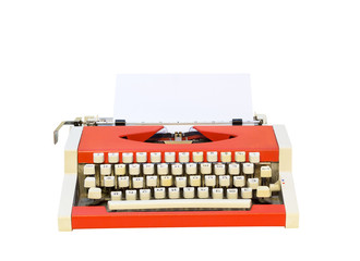 vintage orange typewriter isolated on white background