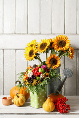 Wall Mural - Autumn floral arrangement with flowers and plants