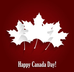Happy Canada Day poster on red background. Vector illustration.