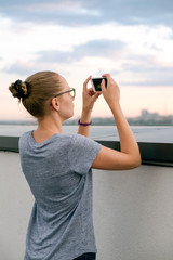 Girl photographed on a mobile phone
