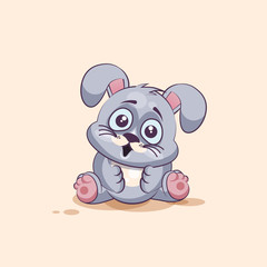 isolated Emoji character cartoon Gray leveret surprised with big eyes sticker emoticon