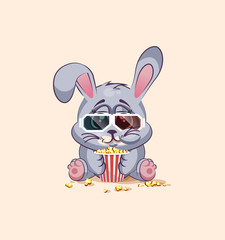 Emoji character cartoon Gray leveret chewing popcorn, watching movie in 3D glasses sticker emoticon