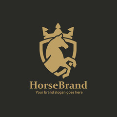 Horse in Shield with Crown on top for Hotel, Finance, investment, Sport Club or any Luxury image Business