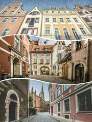 Collage of Riga (Latvia) images - travel background (my photos)