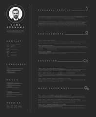 Minimalist dark resume cv template with nice typography