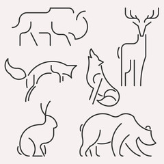 Vector line forest animals logo set. Linear figure bison, deer, fox,wolf, hare, bear