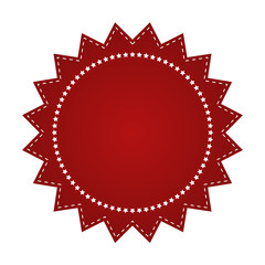 Embroidered red round ribbon stamp isolated on white. Can be used for banner, award, sale, icon, logo, label etc. Vector illustration