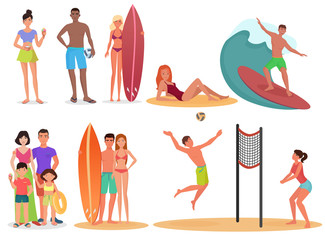 People and couples on active sport vacation beach collection. Summer holidays set.