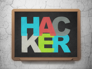 Protection concept: Hacker on School board background