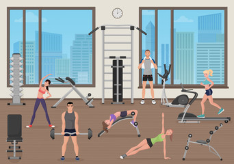 People training in gym. Fitness sport place. Man and woman man workout in gym.