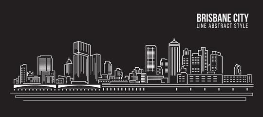 Cityscape Building Line art Vector Illustration design - Brisbane City