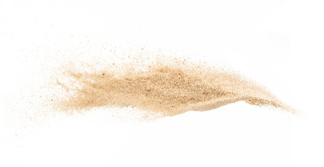 Sand on white background ,stop motion,sand explode